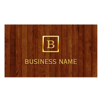 Gold Monogram Wood Funeral Business Card