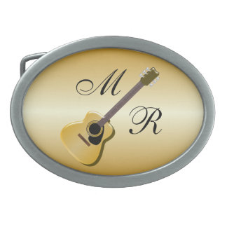 Gold Monogrammed Acoustic Guitar Belt Buckles
