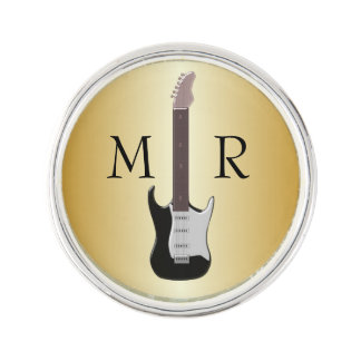 Gold Monogrammed Electric Guitar Lapel Pin