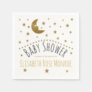 Gold Moon and Stars Baby Shower Paper Napkin