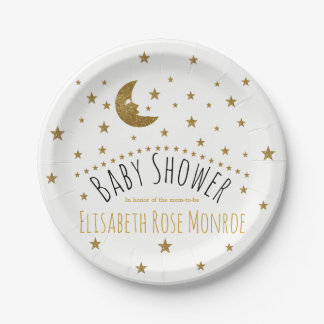 Gold Moon and Stars Baby Shower Paper Plate