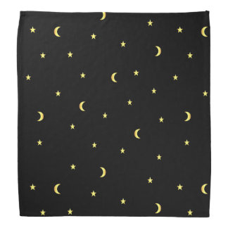 Gold Moon and Stars Bandana