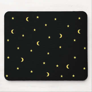 Gold Moon and Stars Mouse Mat