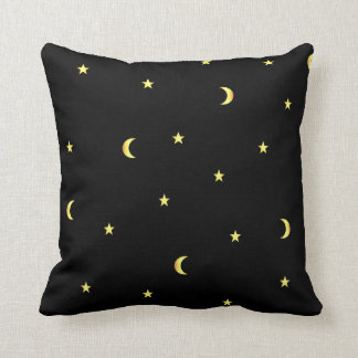 Gold Moon and Stars Throw Pillow