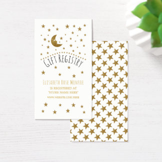 Gold Moon & Stars Baby Shower Gift Registry Business Card