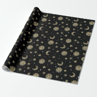 Gold Moon & Stars Wrapping Paper