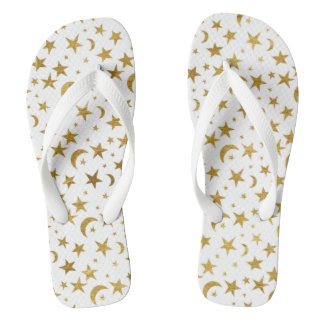 Gold Moons and Stars Flip Flops