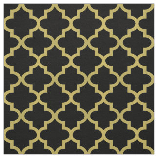 Gold Moroccan Quatrefoil | Black Pattern Fabric