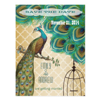 Gold Moroccan Tile Peacock Birdcage Save the Date Postcard