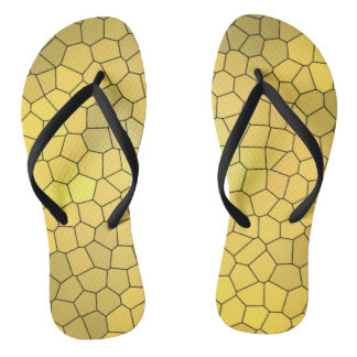 Gold Mosaic Design Fun Flip Flops