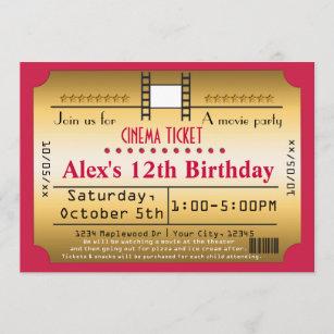 Gold Movie Ticket Cinema film Strip Invitation