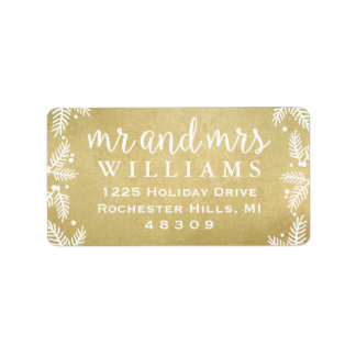 Gold Mr and Mrs   Holiday Address Labels