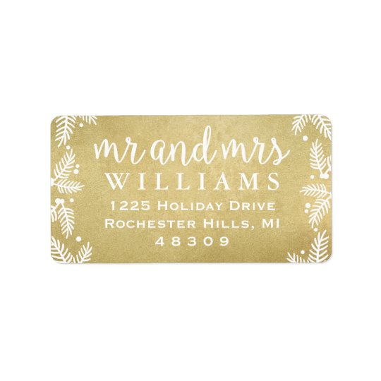 Gold Mr and Mrs | Holiday Address Labels