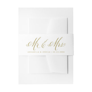Gold Mr. & Mrs. Elegant Script Wedding Invitation Belly Band