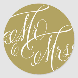 Gold Mr. & Mrs. Elegant Script Wedding Sticker II