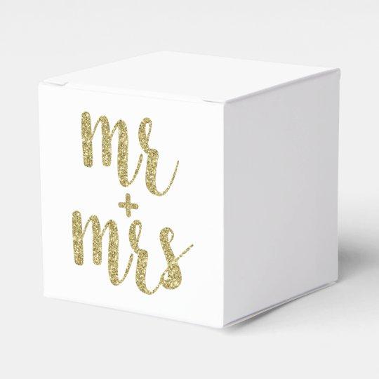 Gold Mr. & Mrs. favour boxes, glitter Favour