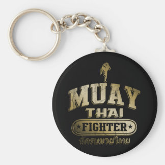 Gold Muay Thai Fighter Basic Round Button Key Ring