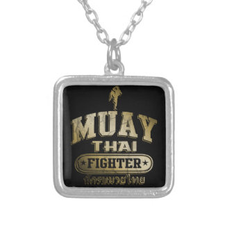 Gold Muay Thai Fighter Silver Plated Necklace