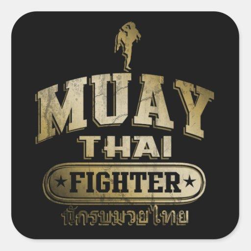 Gold Muay Thai Fighter Square Sticker