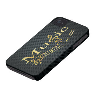 Gold Music is Life with Metal Mesh iPhone 4 Case-Mate Case