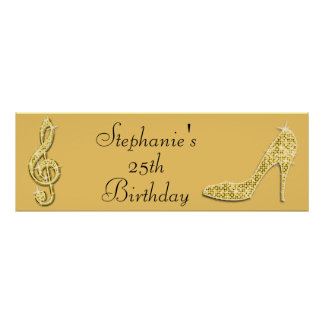 Gold Music Note and Stiletto 25th Birthday Poster