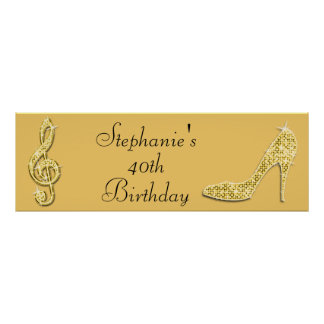 Gold Music Note and Stiletto 40th Birthday Poster