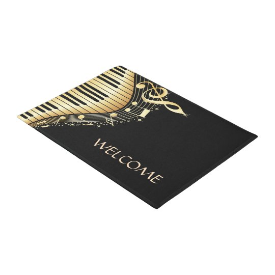Gold Music Note Over Black Background Doormat