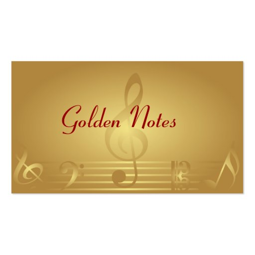 Gold Music Notes Business Cards