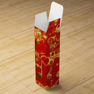 gold music notes in red wine bottle box