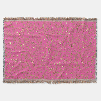 Gold Music Notes On Pink Or Your Color Throw Blanket