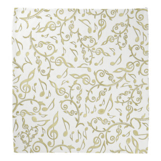 Gold Music Notes On White Or any Color Bandana