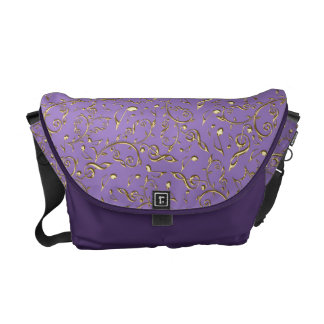 Gold Music Notes Pattern On Purple Courier Bags