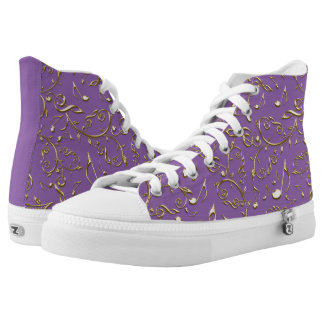 Gold Music Notes Pattern On Purple or Your Color Printed Shoes