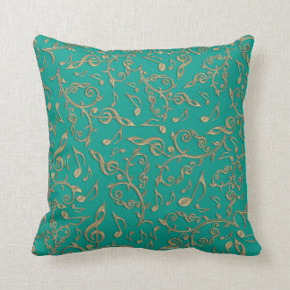 Gold Music Notes Pick Your Own Color Pillow - Teal