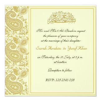 Gold Muslim wedding 13 Cm X 13 Cm Square Invitation Card