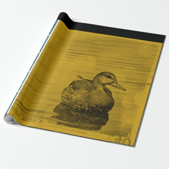 Gold N Blue Duck on Water Collage Wrapping