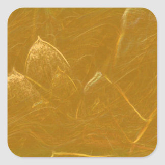 Gold n Copper Sheet :  Lotus Engraved Design Square Sticker