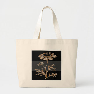 Gold n Silver Engraved Floral Black Beauty Tote Bags