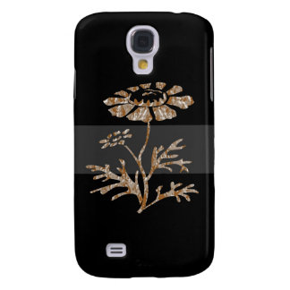 Gold n Silver Engraved Floral Black Beauty Galaxy S4 Case