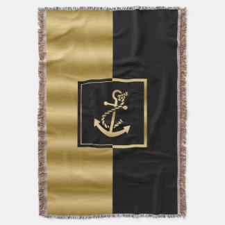 Gold Nautical Boat Anchor Modern Geometric Design Throw Blanket