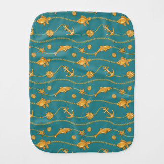 Gold Nautical Pattern Burp Cloth
