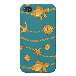 Gold Nautical Pattern Covers For iPhone 4