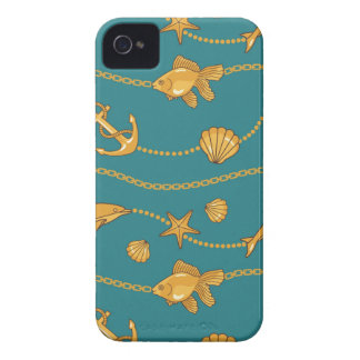 Gold Nautical Pattern iPhone 4 Case-Mate Cases