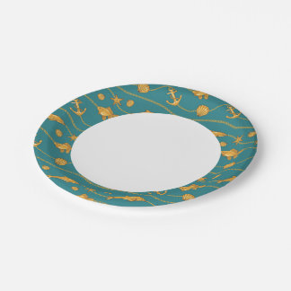 Gold Nautical Pattern Paper Plate