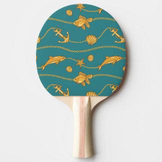 Gold Nautical Pattern Ping Pong Paddle