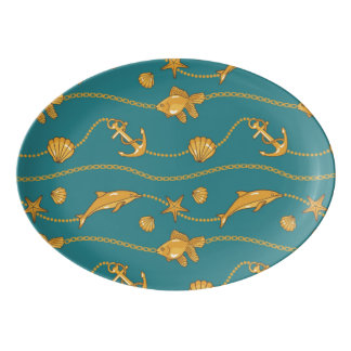 Gold Nautical Pattern Porcelain Serving Platter