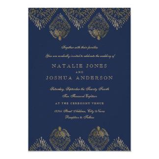 Gold Navy Antique Lace Wedding Invitation
