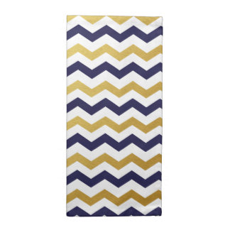 Gold & Navy Blue Chevron Pattern Cloth Napkins