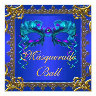 Gold Navy Blue Cobalt Blue Mask Masquerade Ball 5.25x5.25 Square Paper Invitation Card