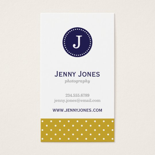 Gold & Navy Blue Cute Polka Dots Monogram Business Card